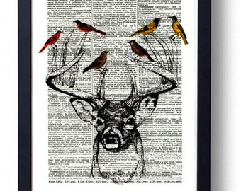 Original Art Print on A Vintage Dictionary Book Page / Stag / Deer Head with Birds