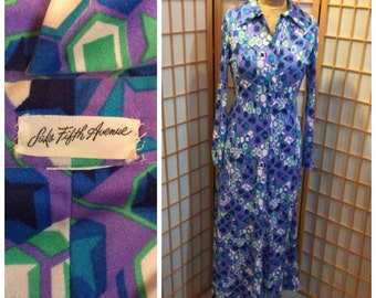 70s Saks 5th ave geometric knit maxi dress size medium