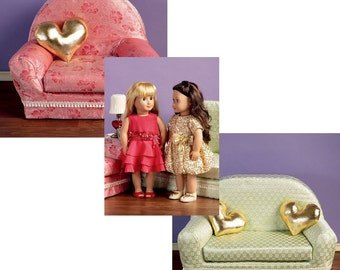 DOLL FURNITURE PATTERN - Fits American Girl / Couch or Loveseat - Chair - Pilow / Dress