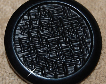 Vintage Lot of 1 Art Deco Black Woven Extra Fancy 36mm Buttons P1L 4