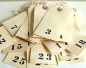 Large Rustic Numbered Tags - Set of 25 Wedding Table Seating Numbers