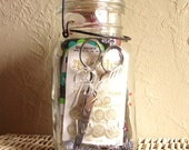 SALE Glass Ball Jar Full of Vintage Sewing Notions Buttons Scissors Ric Rac