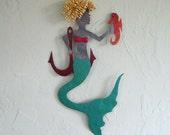 Mermaid wall art - Roxanne - reclaimed metal wall mermaid sculpture beach house bathroom art
