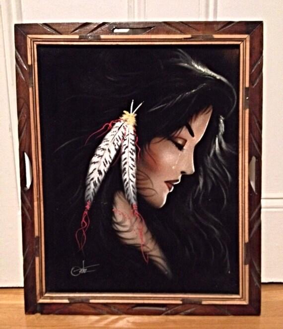 Items similar to vintage black velvet native american for American frame coupon