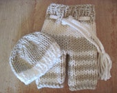 Striped Knit baby pants with drawstring and button beanie hat set - bulky weight - newborn and 3 months - photo shoot prop - hand knit
