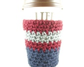 Burgundy, Grey and Navy Cup Cozy, Burgundy, Gray and Navy Coffee Cup Cozy