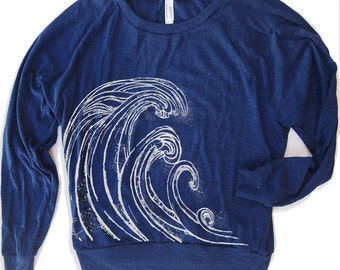Womens WAVE Tri-Blend Pullover - american apparel S M L (8 Color Options)