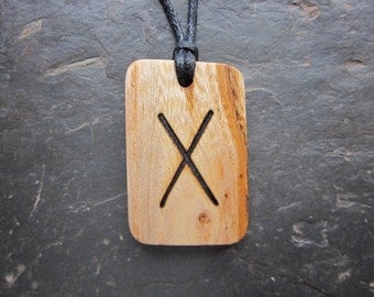 Rare Natural Wood Pendant - English Elm/Gebo - Unique Runic Design.