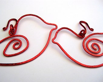 Red bird ornaments - wedding favors wire birds - bird decorations - wedding decor - Christmas in July - holiday gifts - handmade ornaments