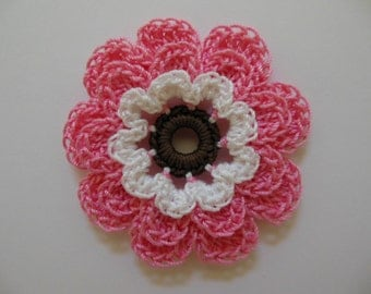 Crocheted Flower - French Rose, White and Fudge Brown