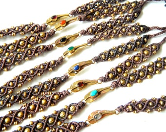 Dark Brown Macrame Bracelet with Semi-Precious Stones and Brass Feather Findings - Many Stone Options