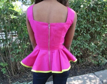 Pink Denim Peplum Top