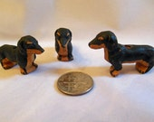 99 Cent Sale:  Set of THREE Peruvian Ceramic DACHSHUND Beads