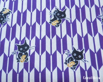 LAST ONE / Kimono Fabric - Arrow Pattern Cat & Coin on Purple - Half Yard (nu130820)