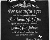 Audrey Hepburn Beautiful Eyes Lips Poise Custom Damask Fleur De Lis Wall Plaque