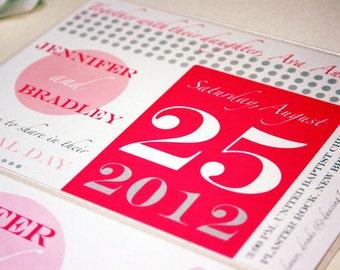 Sample Modern Wedding Invitation, Metallic Pocketfold, Pink and Grey Invites Printable Wedding Invitations Dots Custom Invitation Stationery