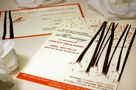 SAMPLE Fall Forest Wedding Invitation, Rustic Wedding Invitation, Tree Invitation, Bird, Fall Wedding Invite, Printable Invitation, Custom