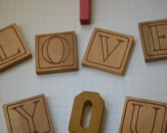 VALENTINES DAY SALE - Vintage Wood Tiles and Letters - I Love You