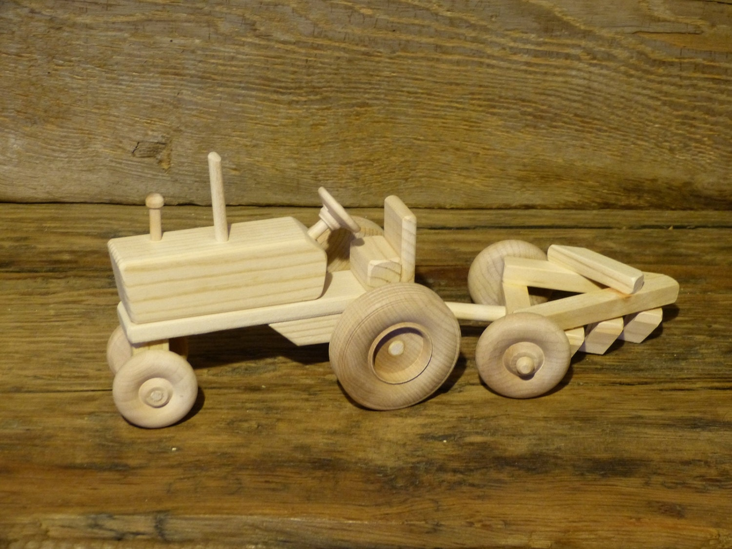 Wooden Tractor Plans : Handmade wooden toys farm tractor and plow