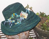 Rich Teal Crocheted Straw Hat with Vintage Silk Sari Band and Art Square