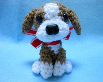 Beagle Crochet Dog in Tan, Black and White, Amigurumi, Canine, Stuffed Dog, Stuffed Animal, Dog Lover, Hunting Dog