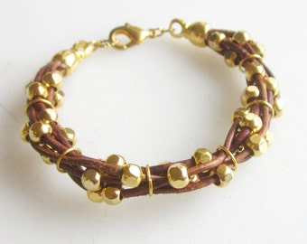Leather cuff bracelet gold metal beads multi row leather beaded bracelet friendship bracelet  boho chic