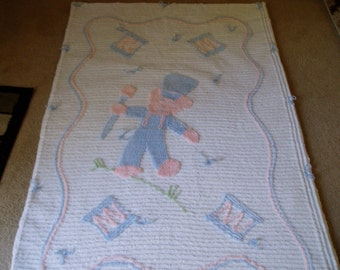 Handmade Baby Teddy Bear Drummer Quilt/1950s Chenille Top Used In Blanket