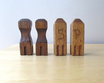 rustic wood salt and pepper shakers arts and crafts era 2 sets