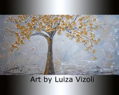Abstract Art GOLD TREE on Grey Silver Modern Painting Canvas by Luiza Vizoli Huge Canvas ready to hang available 72x