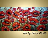 POPPIES Flowers Oil Painting Embellished Canvas Giclee Holiday Wall Decor Large Canvas 48x24 by Luiza Vizoli