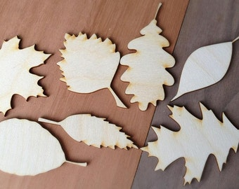 14 Pieces- Craft Wood Shapes Fall Leaves