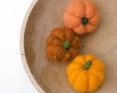 Needle Felted Pumpkin Home Decor, 3 Felt Wool Fall Autumn Home whimsical thanksgiving halloween handmade Country Harvest decorating Orange
