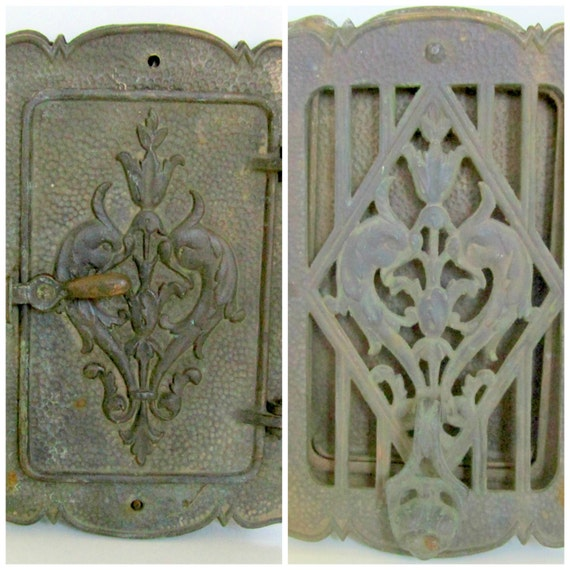 Art nouveau door knocker brass peephole window door speakeasy - Door knocker with peep hole ...