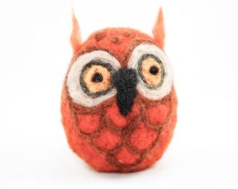 Needle Felted Owl (Bright Orange)