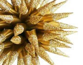 Handmade Glittered Gold Paper Star Urchin Christmas Ornament, New Years Party Gift, First Anniversary Gift - Satin Gold Sparkler, 4 inch
