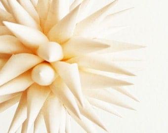 Star Urchin Ornament Country Christmas Ornament Creamy White Paper Folk Art Decoration Polish Porcupine Ball - French Vanilla, 4 inch
