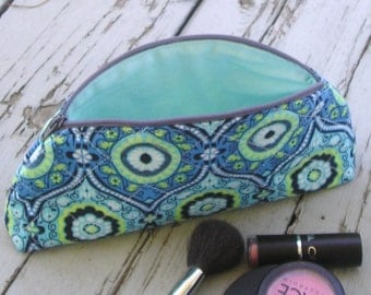 Small Zippered Makeup Bag / Cosmetic Case Amy Butler Lark Dreamer