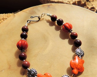 Turtle Totem Bracelet, Orange and Brown, Orange Magnesite and Mahogany Obsidian Bracelet, Native Inspired Jewelry, Handcrafted Jewelry