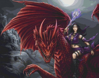 Large - Modern Cross Stitch Kit By SheBlackDragon 'Fantasy Dragon Rider' -  Dragon NeedleCraft Kit