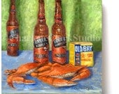 OLD BAY, NATTY Boh and Steamed Males - Giclée Canvas Print on Cradled Wood Panel