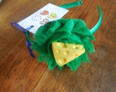 Green fabric flower with cheese wedge  center green headband