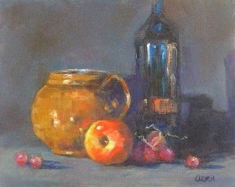 Still Life with Copper Pot, 8x10 Original Oil Painting on Canvas Panel, Daily Painting
