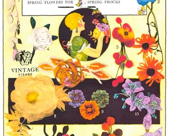 14 vintage fabric flowers to make- 1920s sewing patterns pdf instant download