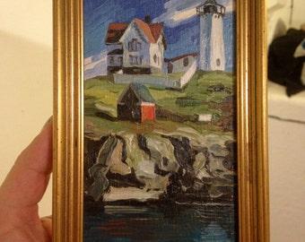 Nubble lighthouse,Original oil painting on wood, York, Maine, Nubble Light House