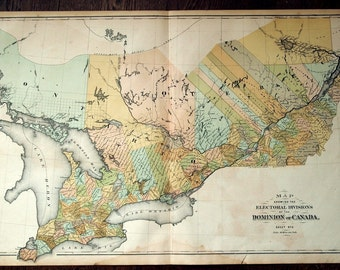 Antique Hand Coloured Map of Ontario and Quebec, Canada. Large Two-panel Map From 1880 Atlas