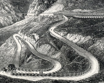 1900 Antique Engraving of the Mont Cenis Road and the Fell Railway