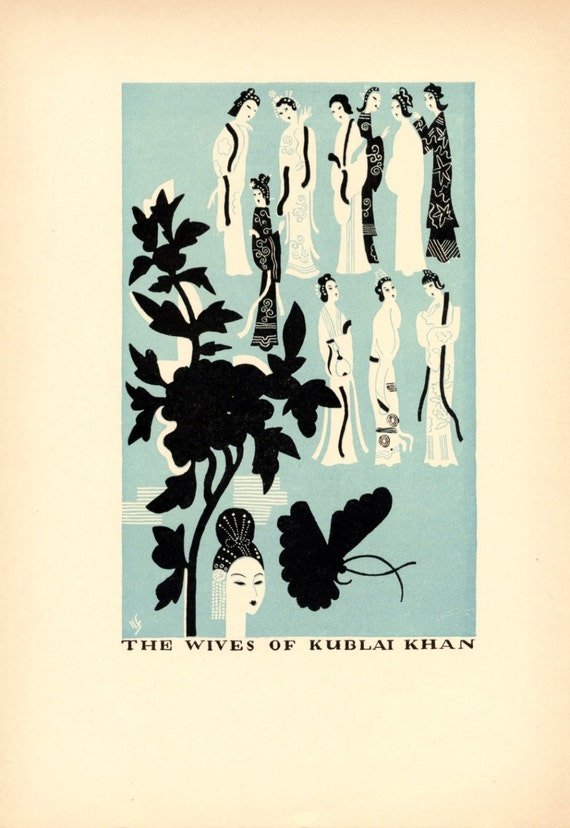 1930 Set of Three Vintage Woodcut Illustrations from The Travels of Marco Polo in Black and Aquamarine. Set 1