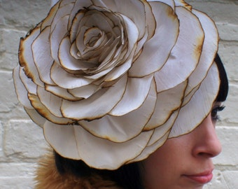 Giant flower headpiece ivory silk rose corsage fascinator. Custom order.
