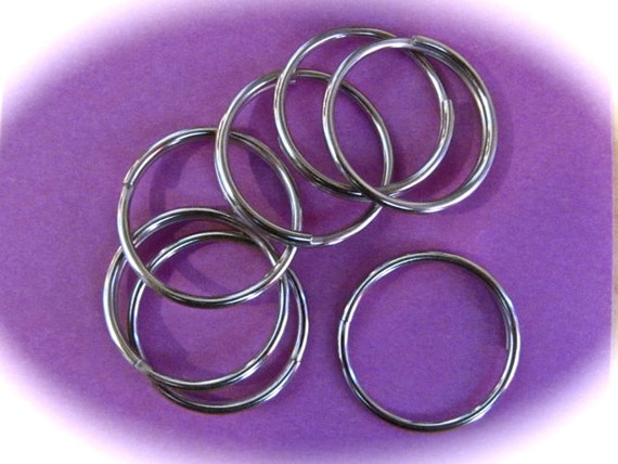 "20 - Key chain Rings 1"" Across Stainless Steel, Water Resistant 14 Gauge for 2 mm Holes or Larger"