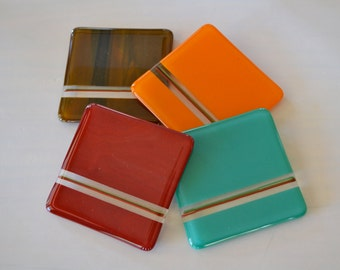 Warm Tones Fused Glass Coasters